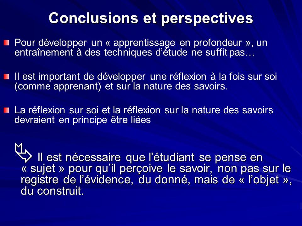 Conclusions et perspectives Pour développer un « apprentissage en profondeur », un entraînement à des techniques détude ne suffit pas… Il est importan