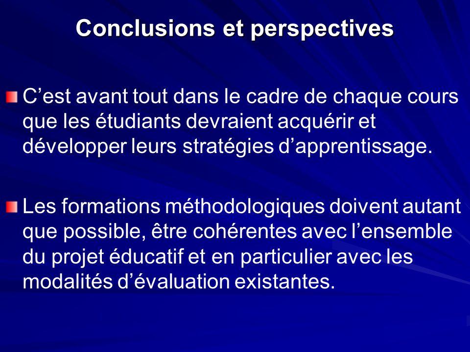 Conclusions et perspectives Cest avant tout dans le cadre de chaque cours que les étudiants devraient acquérir et développer leurs stratégies dapprentissage.