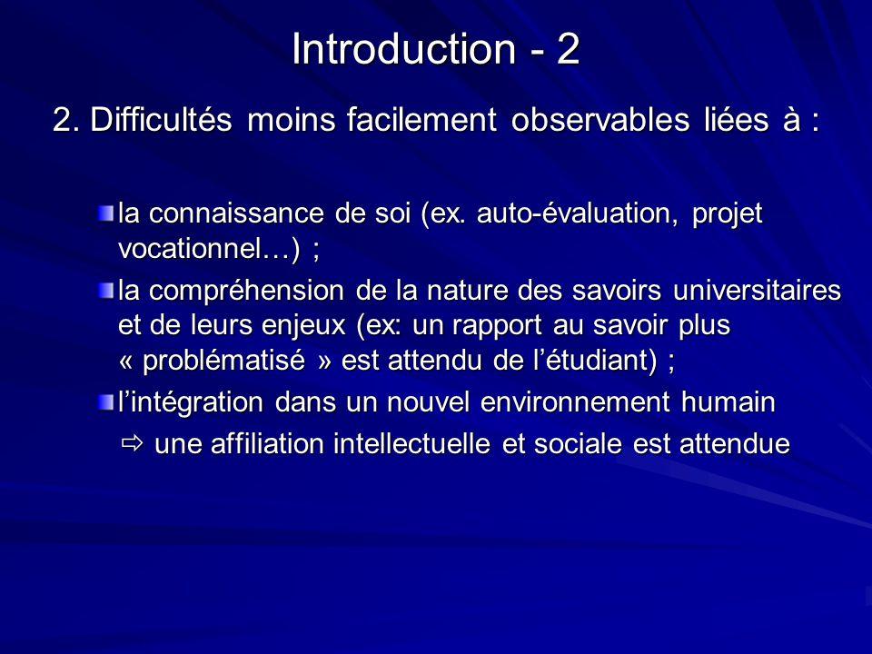 Introduction - 2 2. Difficultés moins facilement observables liées à : la connaissance de soi (ex. auto-évaluation, projet vocationnel…) ; la compréhe