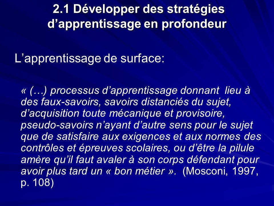 2.1 Développer des stratégies dapprentissage en profondeur 2.1 Développer des stratégies dapprentissage en profondeur Lapprentissage de surface: « (…)