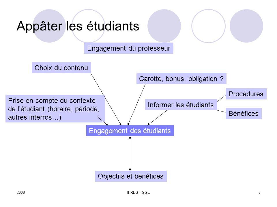 2008IFRES - SGE6 Appâter les étudiants Objectifs et bénéfices Engagement des étudiants Informer les étudiants Carotte, bonus, obligation .