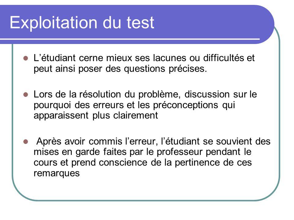 Exploitation du test Létudiant cerne mieux ses lacunes ou difficultés et peut ainsi poser des questions précises.