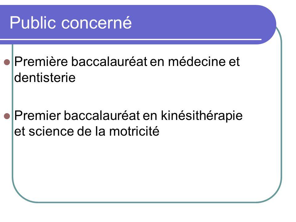 Public concerné Première baccalauréat en médecine et dentisterie Premier baccalauréat en kinésithérapie et science de la motricité