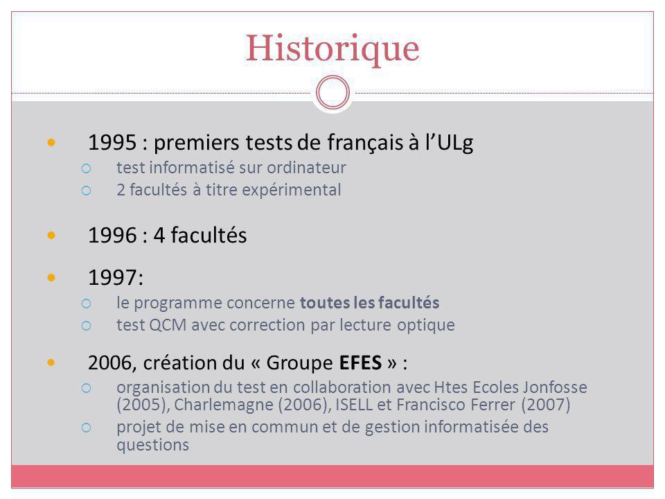 Historique 1995 : premiers tests de français à lULg test informatisé sur ordinateur 2 facultés à titre expérimental 1996 : 4 facultés 1997: le program