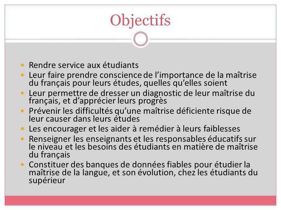 Objectifs Rendre service aux étudiants Leur faire prendre conscience de limportance de la maîtrise du français pour leurs études, quelles quelles soie