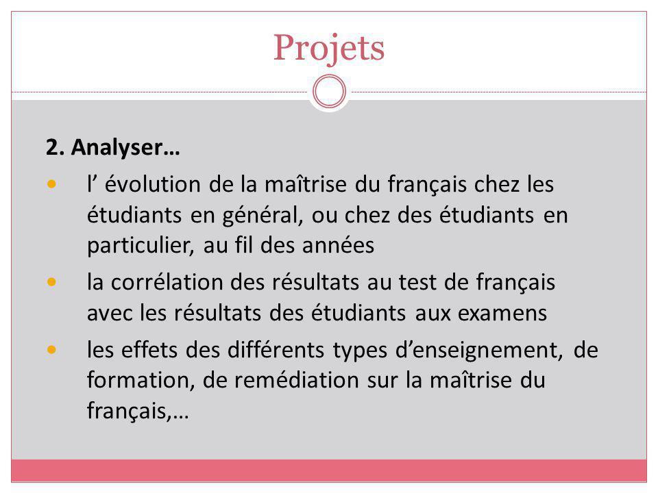 Projets 2. Analyser… l évolution de la maîtrise du français chez les étudiants en général, ou chez des étudiants en particulier, au fil des années la