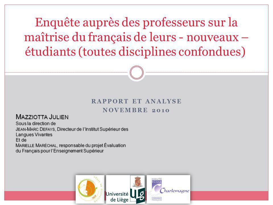 Enquête auprès des professeurs sur la maîtrise du français de leurs - nouveaux – étudiants (toutes disciplines confondues) RAPPORT ET ANALYSE NOVEMBRE