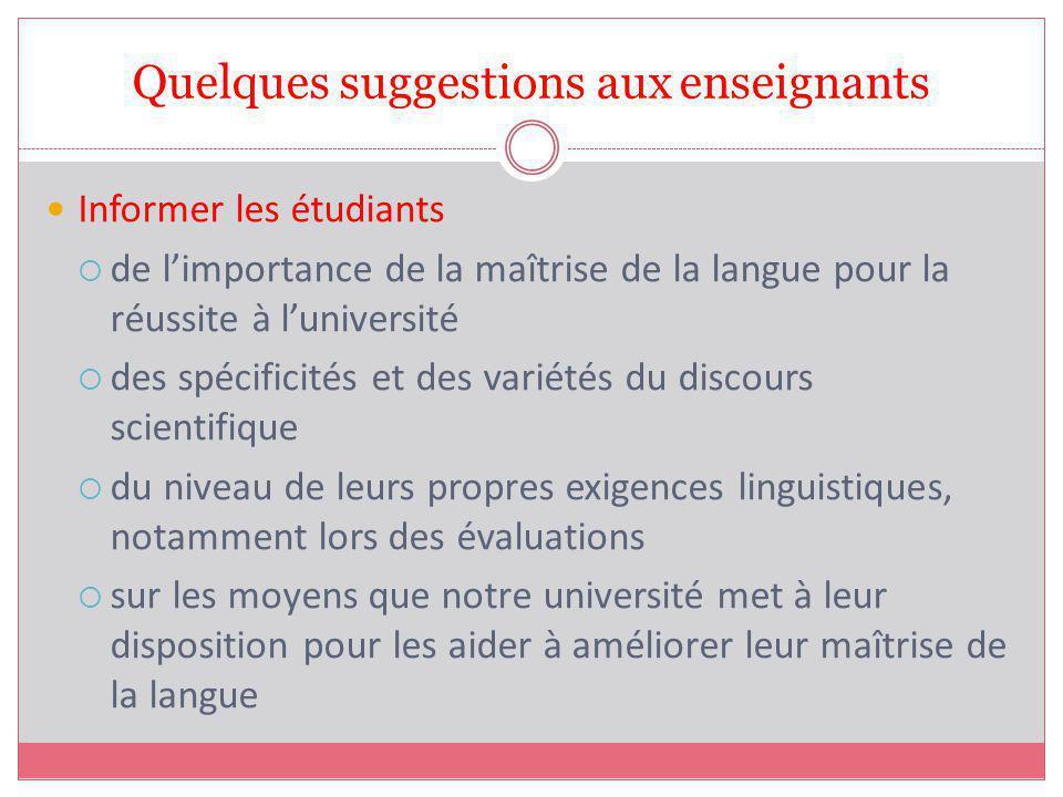 Quelques suggestions aux enseignants Informer les étudiants de limportance de la maîtrise de la langue pour la réussite à luniversité des spécificités