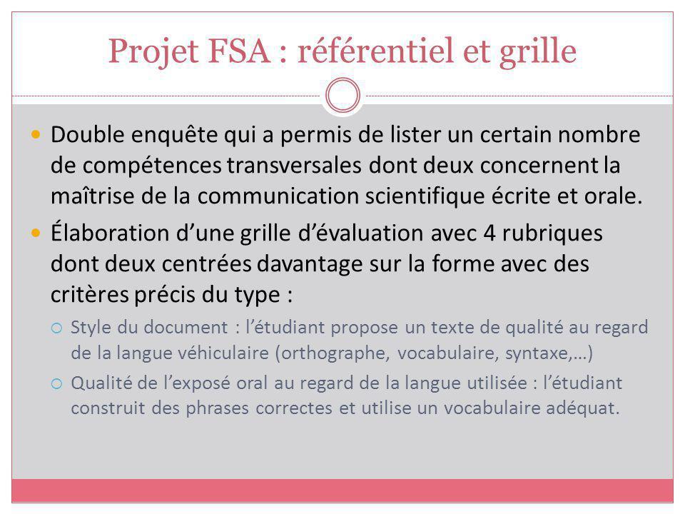 Projet FSA : référentiel et grille Double enquête qui a permis de lister un certain nombre de compétences transversales dont deux concernent la maîtrise de la communication scientifique écrite et orale.