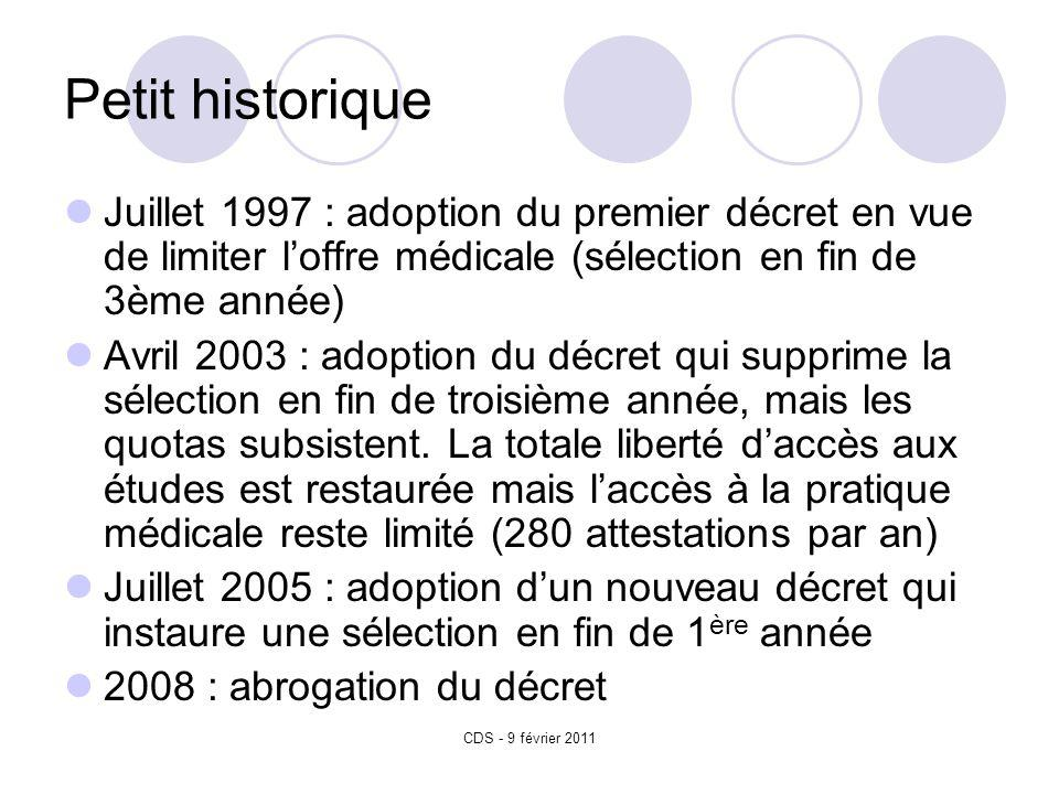CDS - 9 février 2011 Petit historique Juillet 1997 : adoption du premier décret en vue de limiter loffre médicale (sélection en fin de 3ème année) Avril 2003 : adoption du décret qui supprime la sélection en fin de troisième année, mais les quotas subsistent.