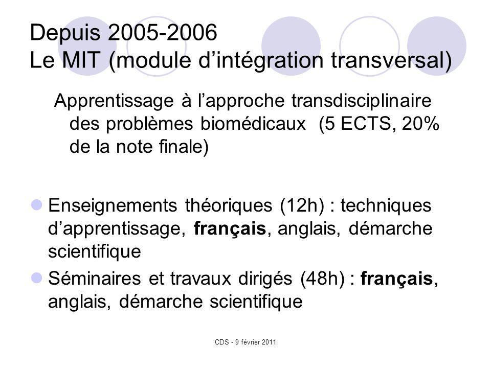 CDS - 9 février 2011 Depuis 2005-2006 Le MIT (module dintégration transversal) Apprentissage à lapproche transdisciplinaire des problèmes biomédicaux (5 ECTS, 20% de la note finale) Enseignements théoriques (12h) : techniques dapprentissage, français, anglais, démarche scientifique Séminaires et travaux dirigés (48h) : français, anglais, démarche scientifique