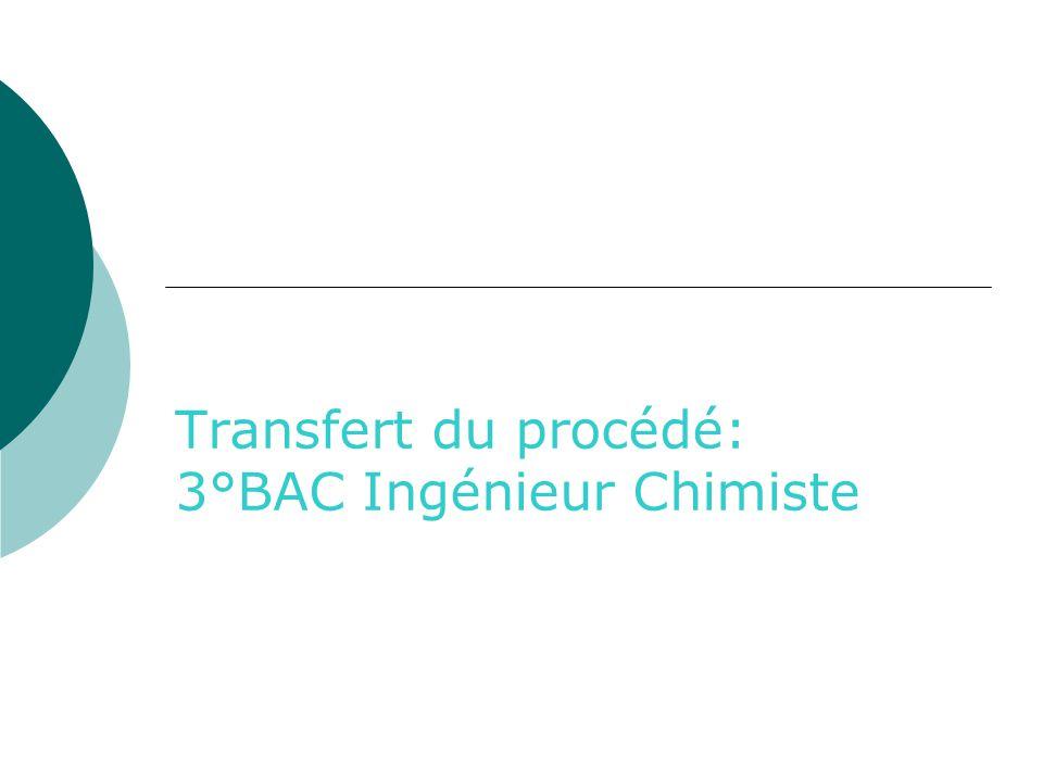 Transfert du procédé: 3°BAC Ingénieur Chimiste