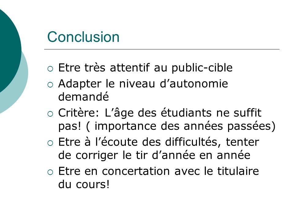 Conclusion Etre très attentif au public-cible Adapter le niveau dautonomie demandé Critère: Lâge des étudiants ne suffit pas! ( importance des années