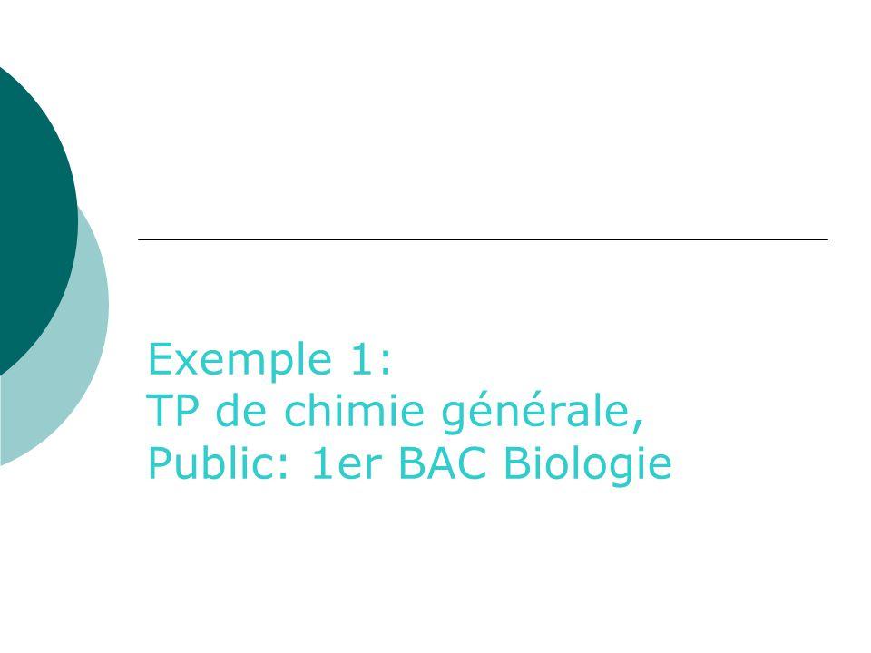 Exemple 1: TP de chimie générale, Public: 1er BAC Biologie