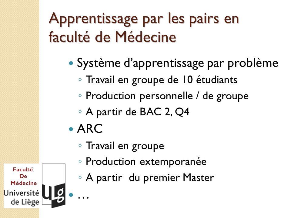 Faculté De Médecine Apprentissage par les pairs en BAC1 .