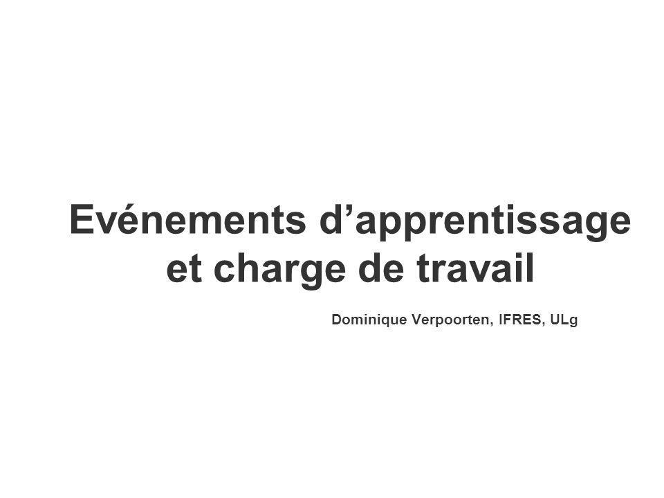 Evénements dapprentissage et charge de travail Dominique Verpoorten, IFRES, ULg