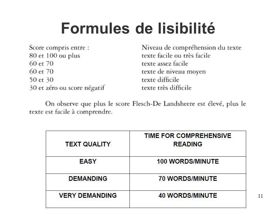 Formules de lisibilité 11