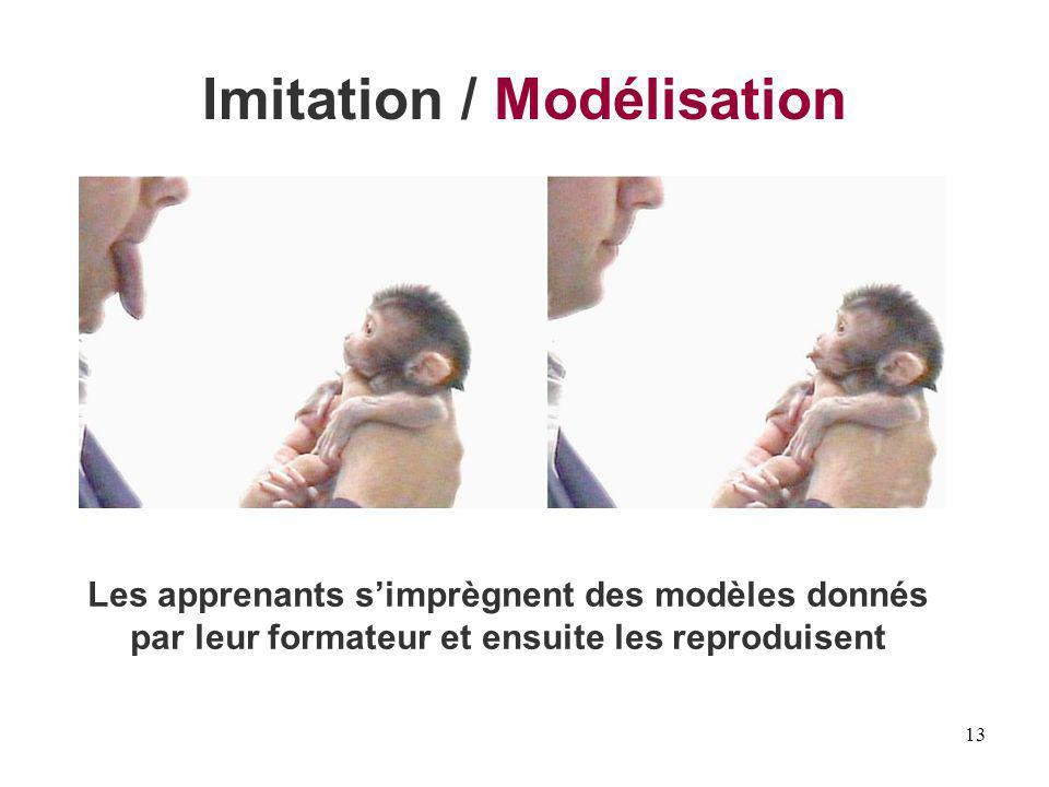 13 Imitation / Modélisation Les apprenants simprègnent des modèles donnés par leur formateur et ensuite les reproduisent