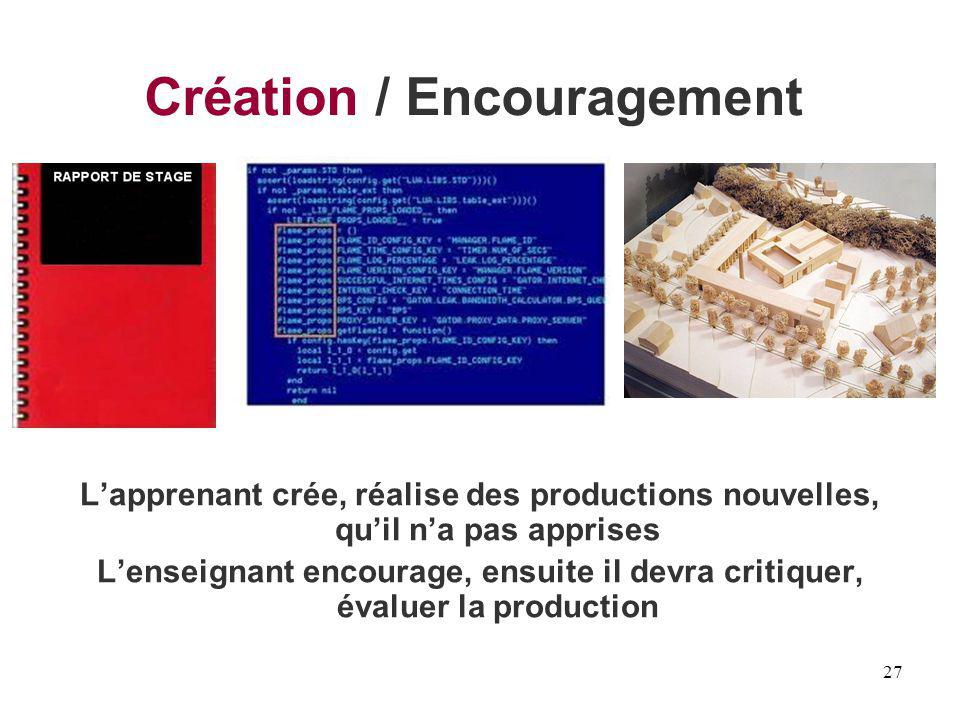 27 Création / Encouragement Lapprenant crée, réalise des productions nouvelles, quil na pas apprises Lenseignant encourage, ensuite il devra critiquer