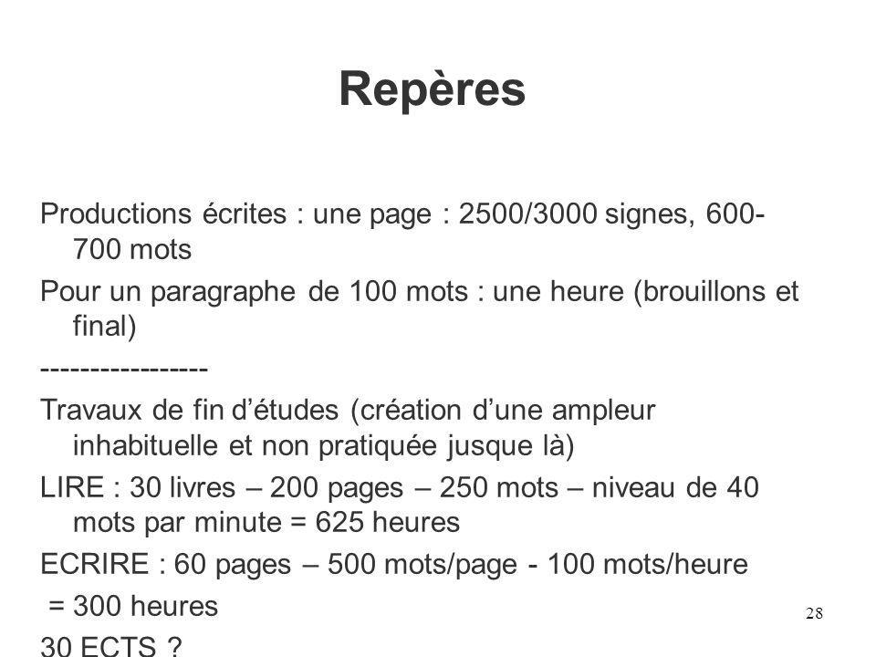 Repères 28 Productions écrites : une page : 2500/3000 signes, 600- 700 mots Pour un paragraphe de 100 mots : une heure (brouillons et final) ---------
