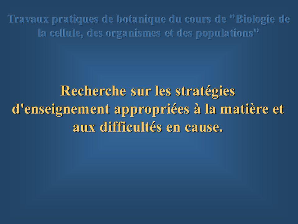 Recherche sur les stratégies d enseignement appropriées à la matière et aux difficultés en cause.