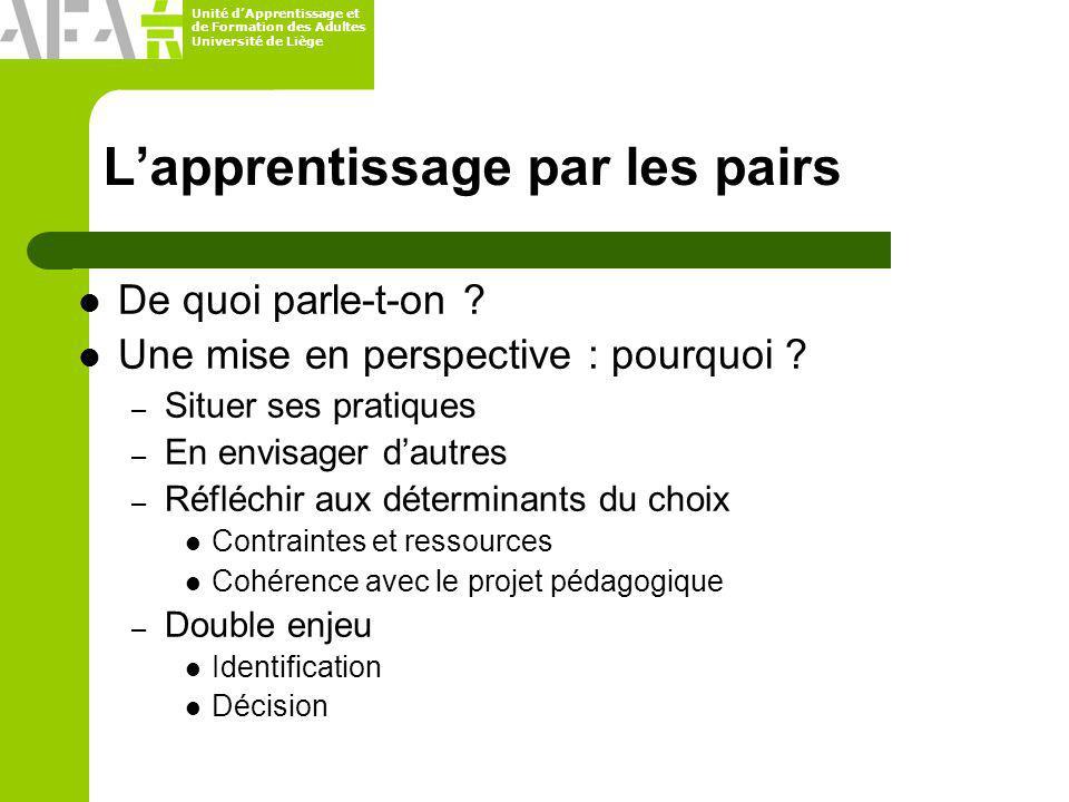 Unité dApprentissage et de Formation des Adultes Université de Liège Lapprentissage par les pairs De quoi parle-t-on ? Une mise en perspective : pourq