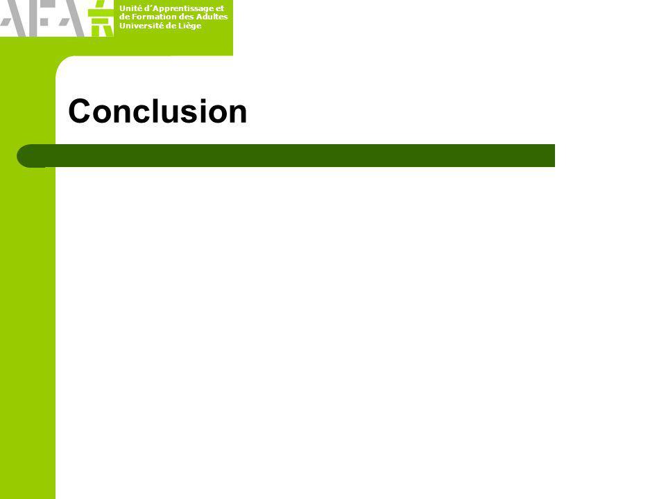 Unité dApprentissage et de Formation des Adultes Université de Liège Conclusion
