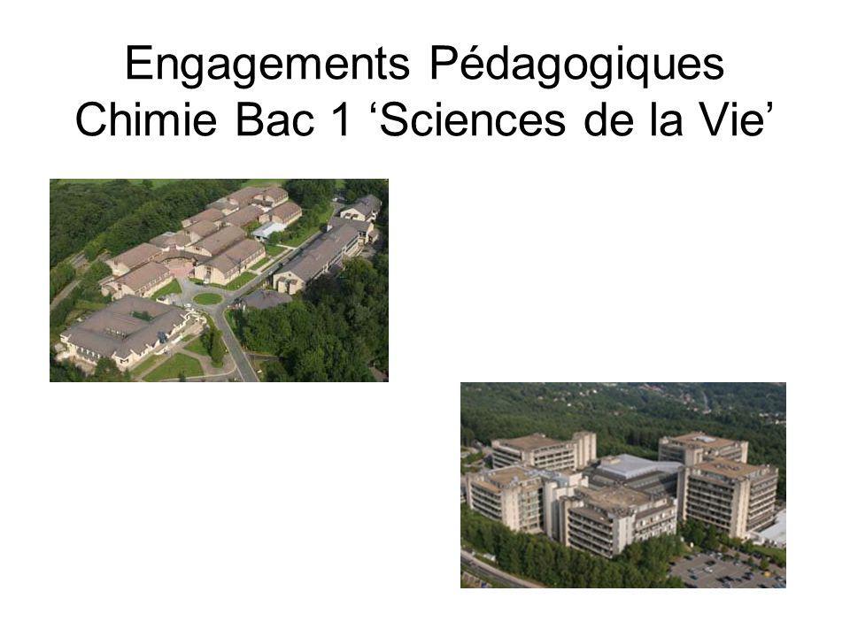 Engagements Pédagogiques Chimie Bac 1 Sciences de la Vie