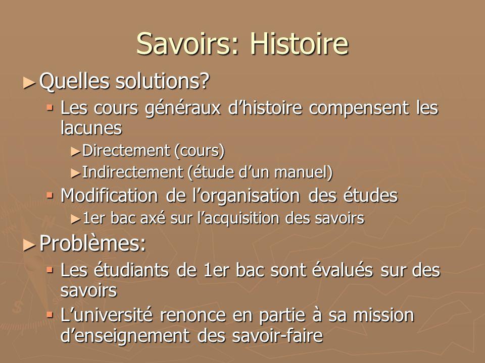 Savoirs: Histoire Quelles solutions.Quelles solutions.