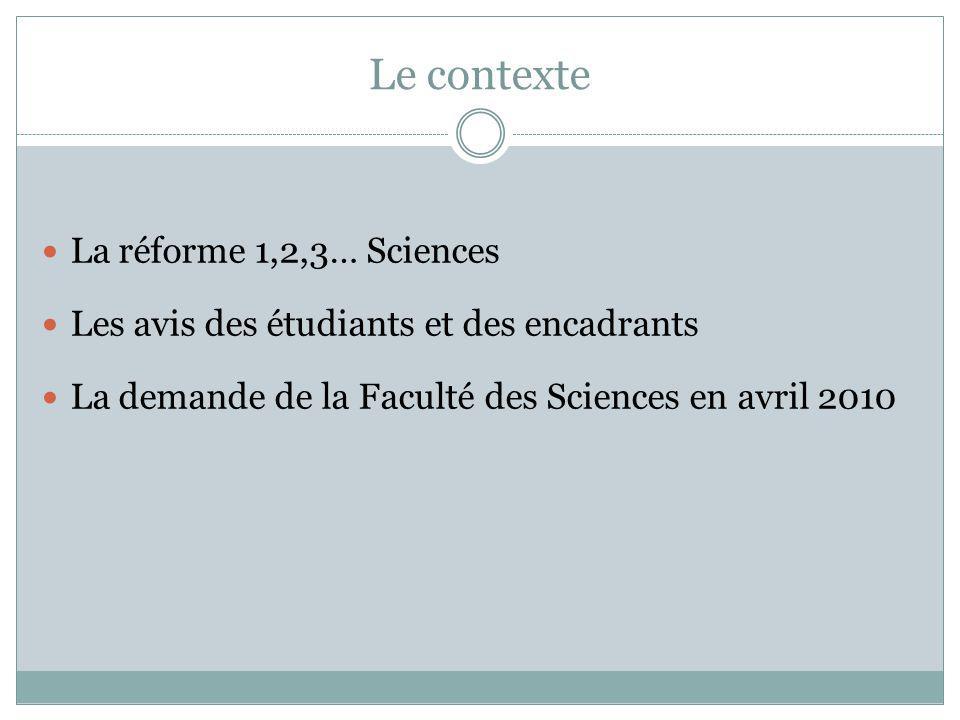 Le contexte La réforme 1,2,3… Sciences Les avis des étudiants et des encadrants La demande de la Faculté des Sciences en avril 2010