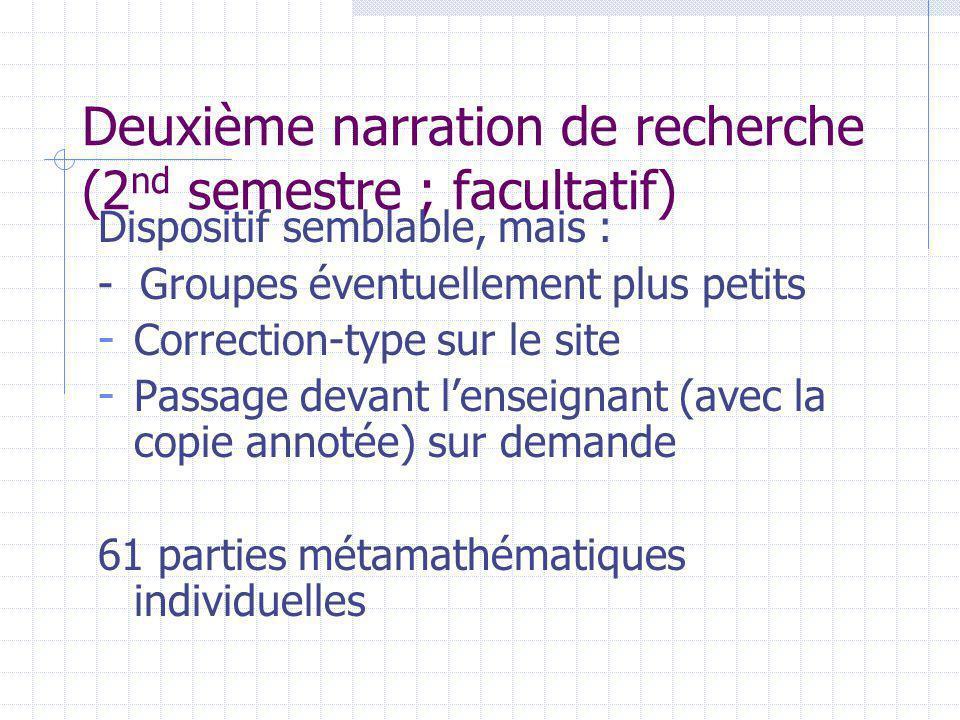 Deuxième narration de recherche (2 nd semestre ; facultatif) Dispositif semblable, mais : - Groupes éventuellement plus petits - Correction-type sur le site - Passage devant lenseignant (avec la copie annotée) sur demande 61 parties métamathématiques individuelles