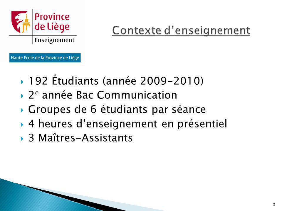 192 Étudiants (année 2009-2010) 2 e année Bac Communication Groupes de 6 étudiants par séance 4 heures denseignement en présentiel 3 Maîtres-Assistant
