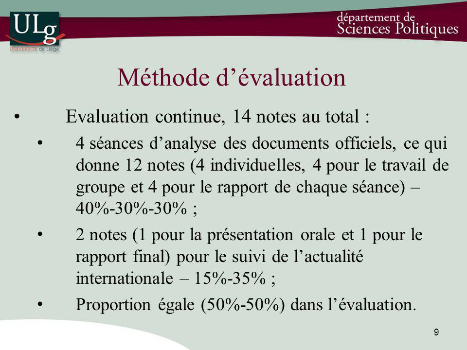 Méthode dévaluation Evaluation continue, 14 notes au total : 4 séances danalyse des documents officiels, ce qui donne 12 notes (4 individuelles, 4 pou