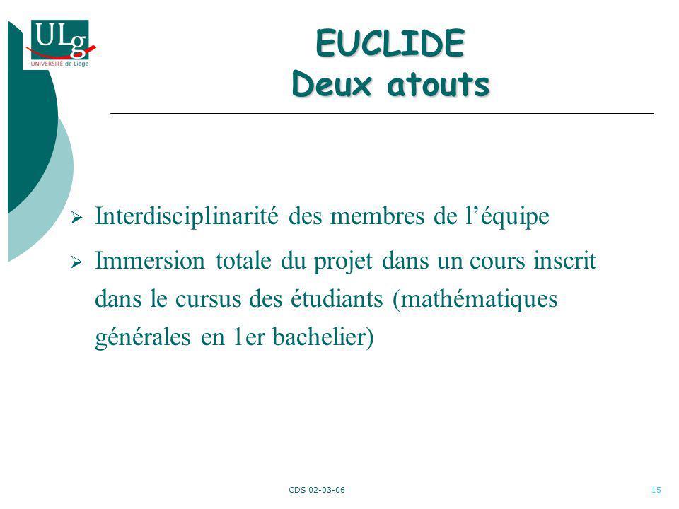 CDS 02-03-0615 EUCLIDE Deux atouts Interdisciplinarité des membres de léquipe Immersion totale du projet dans un cours inscrit dans le cursus des étud