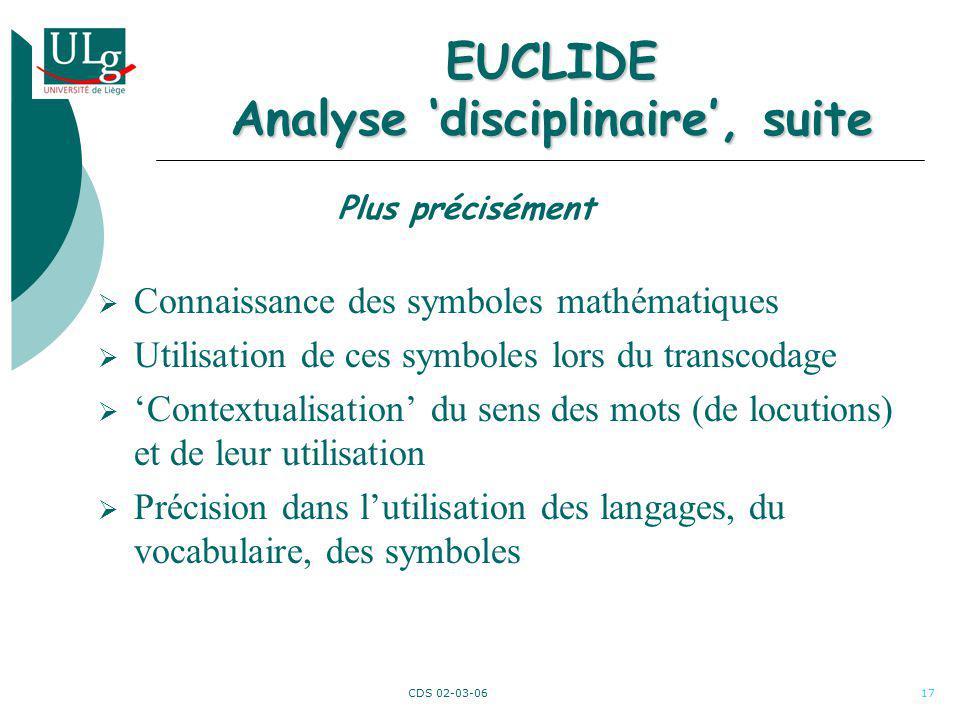 CDS 02-03-0617 EUCLIDE Analyse disciplinaire, suite Connaissance des symboles mathématiques Utilisation de ces symboles lors du transcodage Contextual