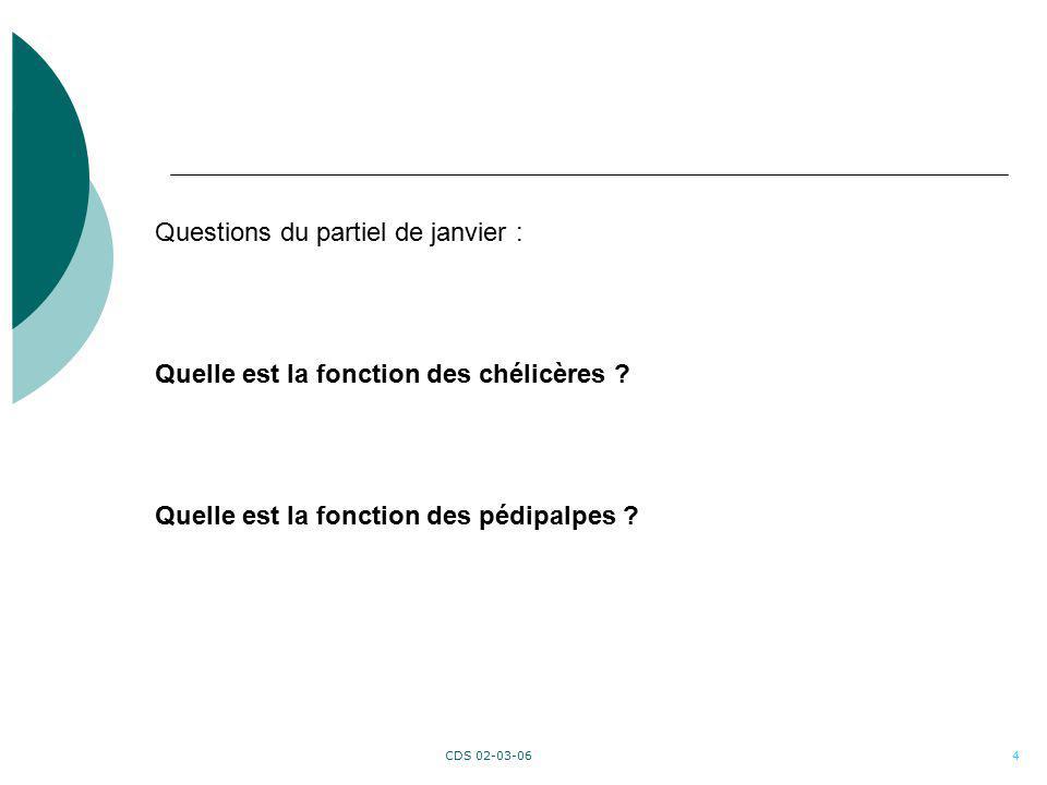 CDS 02-03-064 Questions du partiel de janvier : Quelle est la fonction des chélicères ? Quelle est la fonction des pédipalpes ?