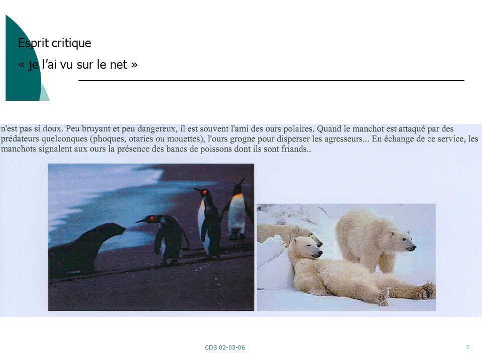 CDS 02-03-067 Esprit critique « je lai vu sur le net »