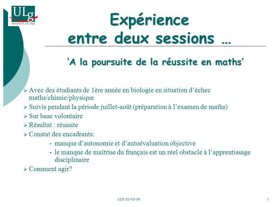 CDS 02-03-069 EUCLIDE Etude des interactions entre les compétences linguistiques et disciplinaires (mathématiques) chez des étudiants de premier bachelier en sciences