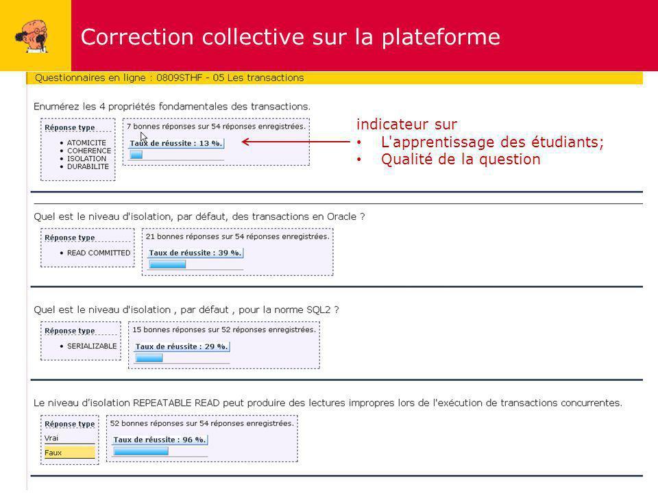 Correction collective sur la plateforme 12 indicateur sur L'apprentissage des étudiants; Qualité de la question