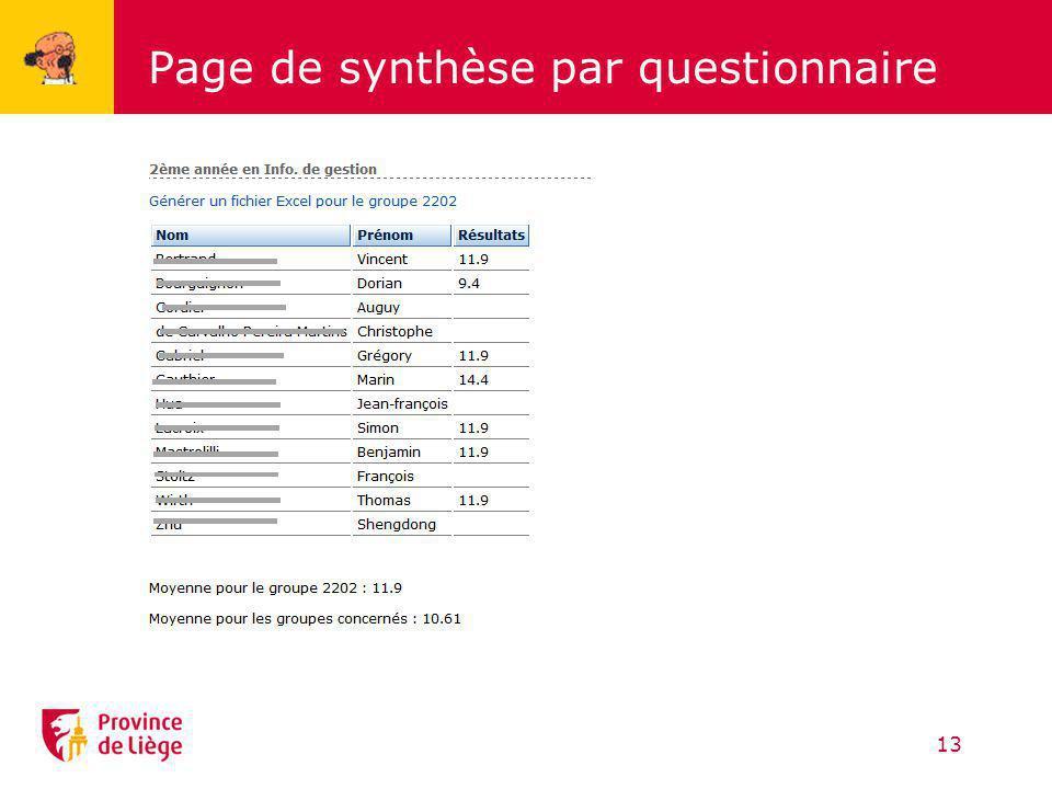 Page de synthèse par questionnaire 13