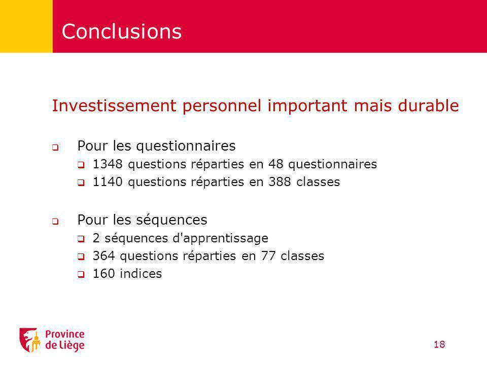 Conclusions Investissement personnel important mais durable Pour les questionnaires 1348 questions réparties en 48 questionnaires 1140 questions répar