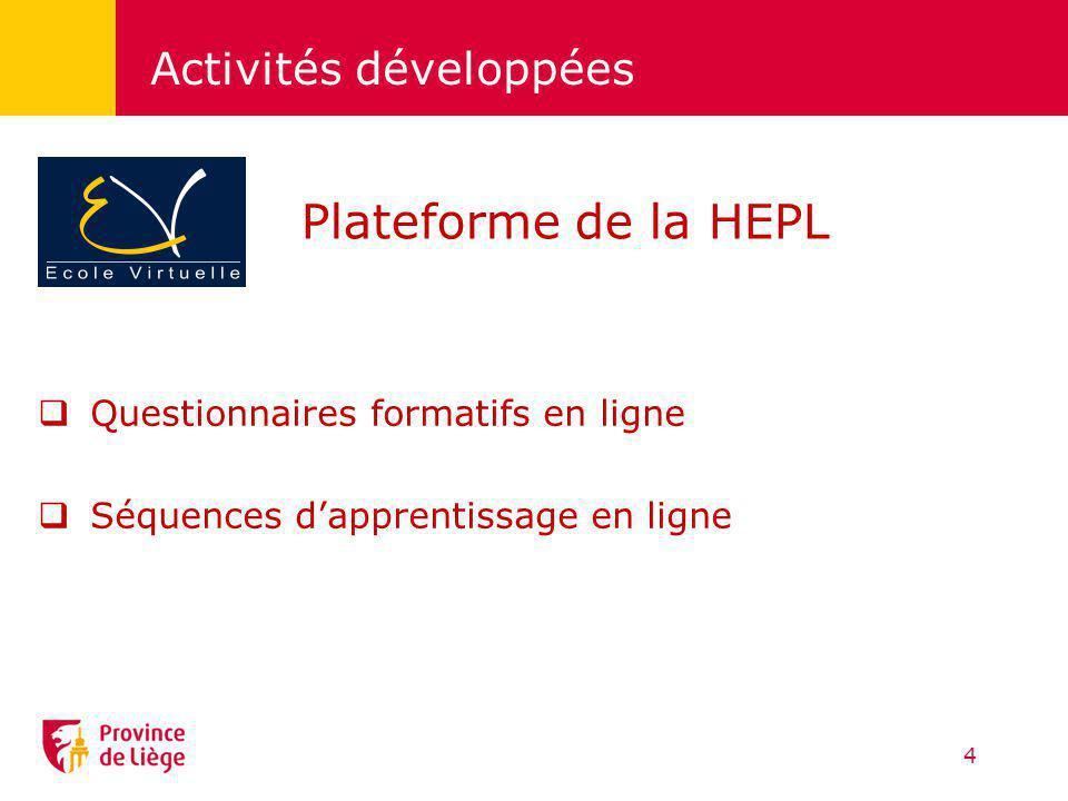 Activités développées Questionnaires formatifs en ligne Séquences dapprentissage en ligne 4 Plateforme de la HEPL