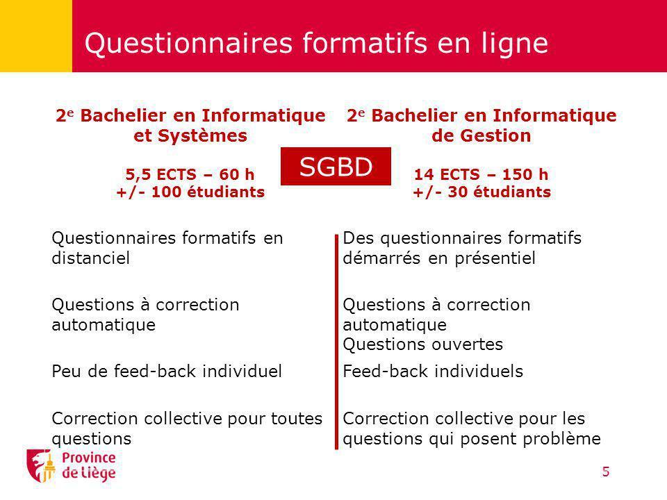 Questionnaires formatifs en ligne 5 2 e Bachelier en Informatique et Systèmes 5,5 ECTS – 60 h +/- 100 étudiants 2 e Bachelier en Informatique de Gesti