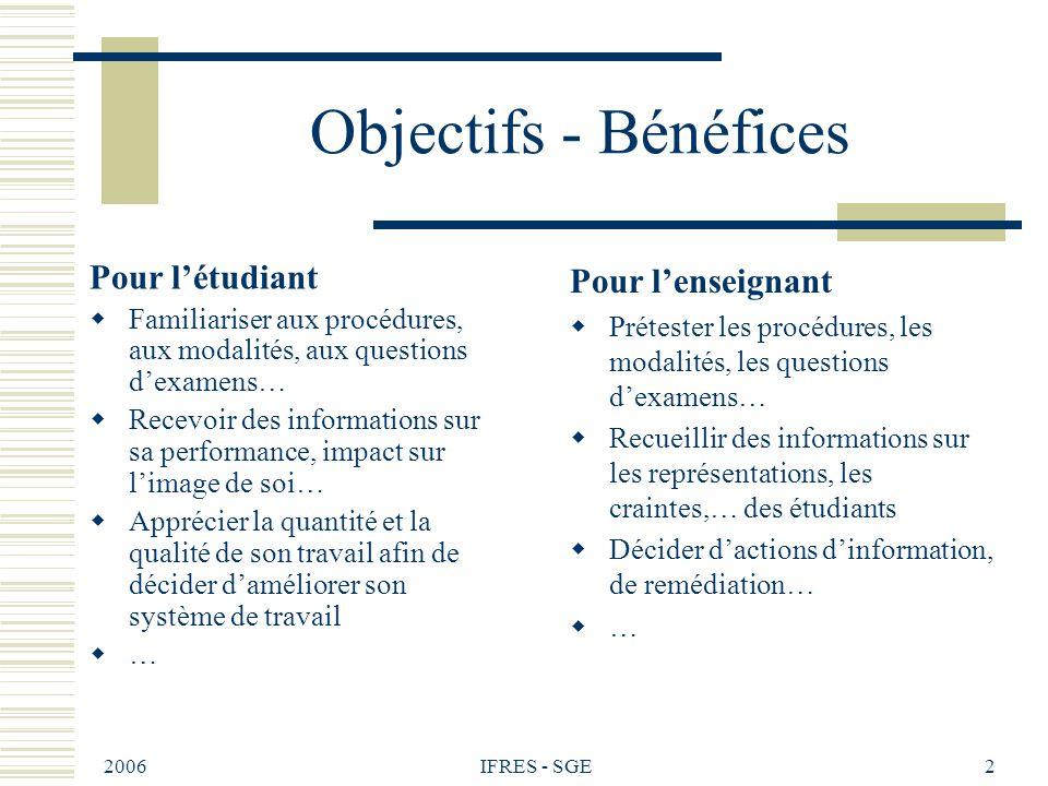 2006 IFRES - SGE2 Objectifs - Bénéfices Pour létudiant Familiariser aux procédures, aux modalités, aux questions dexamens… Recevoir des informations s