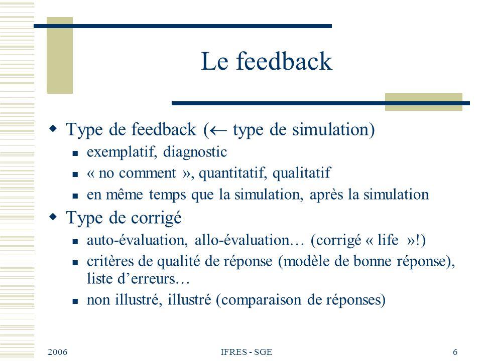 2006 IFRES - SGE6 Le feedback Type de feedback ( type de simulation) exemplatif, diagnostic « no comment », quantitatif, qualitatif en même temps que la simulation, après la simulation Type de corrigé auto-évaluation, allo-évaluation… (corrigé « life »!) critères de qualité de réponse (modèle de bonne réponse), liste derreurs… non illustré, illustré (comparaison de réponses)