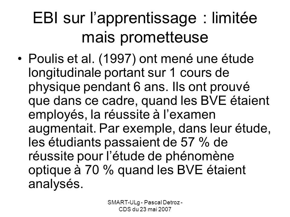 SMART-ULg - Pascal Detroz - CDS du 23 mai 2007 EBI sur lapprentissage : limitée mais prometteuse Poulis et al.