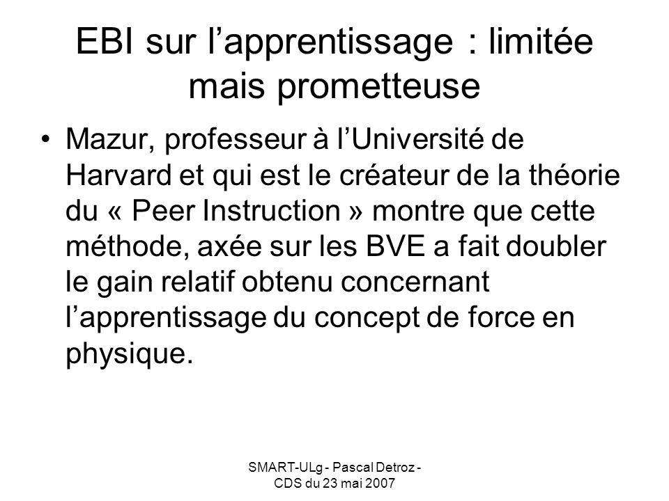 SMART-ULg - Pascal Detroz - CDS du 23 mai 2007 EBI sur lapprentissage : limitée mais prometteuse Mazur, professeur à lUniversité de Harvard et qui est le créateur de la théorie du « Peer Instruction » montre que cette méthode, axée sur les BVE a fait doubler le gain relatif obtenu concernant lapprentissage du concept de force en physique.