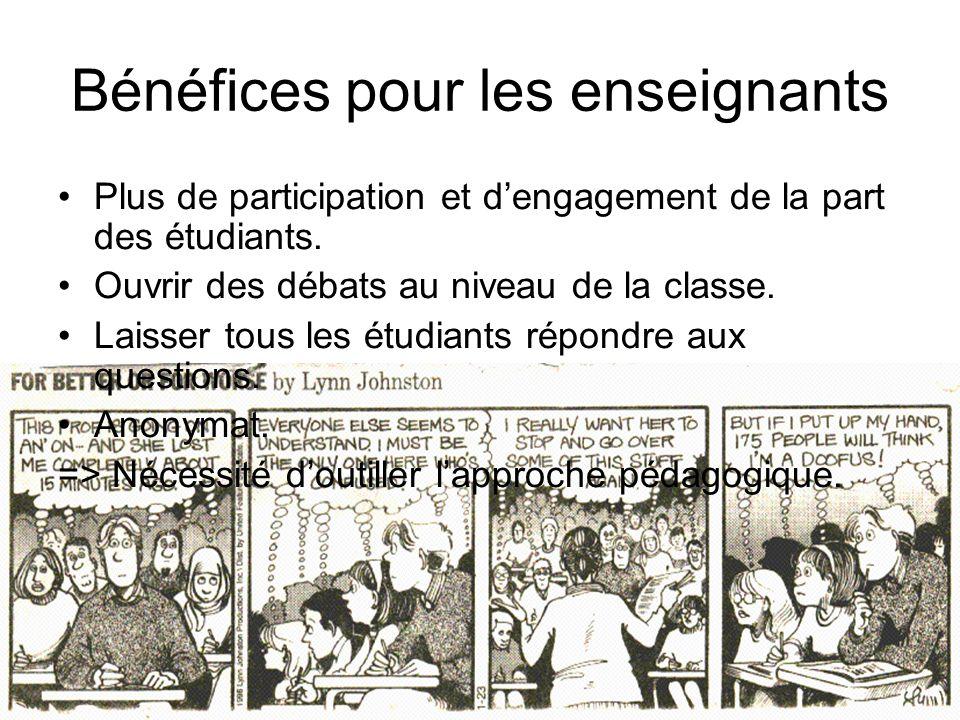 SMART-ULg - Pascal Detroz - CDS du 23 mai 2007 Bénéfices pour les enseignants Plus de participation et dengagement de la part des étudiants.