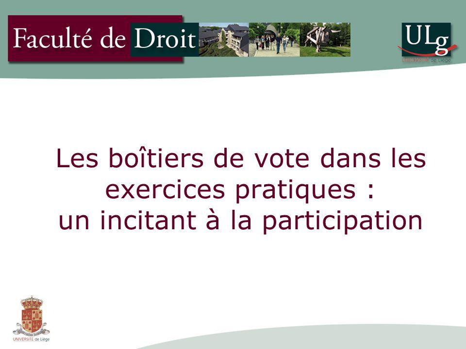 Les boîtiers de vote dans les exercices pratiques : un incitant à la participation