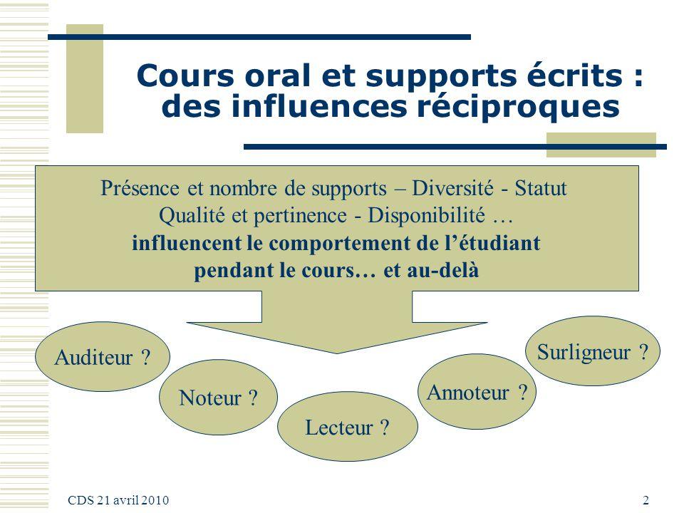 CDS 21 avril 2010 2 Cours oral et supports écrits : des influences réciproques Noteur ? Auditeur ? Lecteur ? Présence et nombre de supports – Diversit